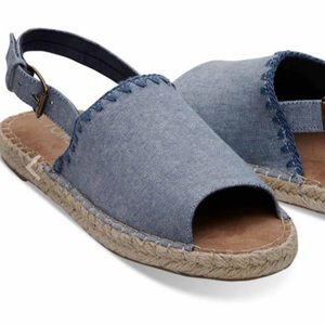 Toms Clara Espadrilles Chambray Sandals-SZ 6 NWOT